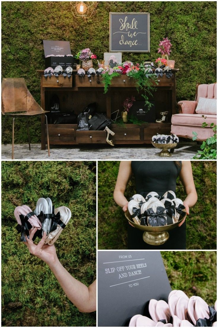 This beautiful Rescue Flats vignette was created to showcase the display possibilities for our foldable ballet flats at a wedding or special event.   The dresser is used to organize our flats by size or color so guests can easily select what they need. The lower drawers provide storage and display possibilities for our heel bags that are included with each Rescue Flats Box Set. Our Box Sets, pictured here, include: 20 pairs of ballet flats, 20 heel bags, satin ribbon, and a couture display…