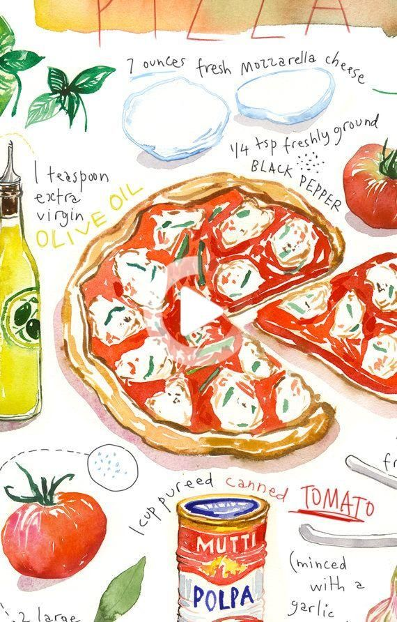 Pizza Recipe Print Food Poster Kitchen Art Italy Wall Art Italian Themed Gift Watercolor Pizza Art Food Poster Recipe Drawing