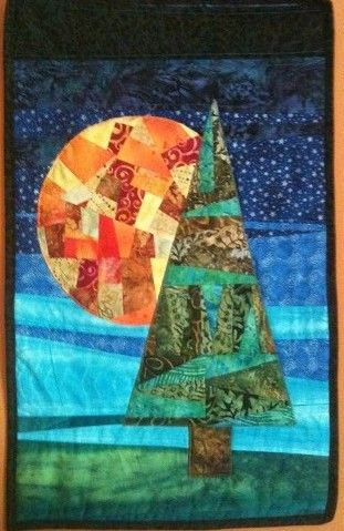 """Harvest Moon (17"""" x 27"""") By: Tubaville, Minnesota, USA Blog: Tubaville Quilts  Inspired by a Deb Karasik design, I fused the pieces to the crazy quilted background then machine appliqued them. Nothing was measured or planned beyond looking at a picture in Deb Karasik's book."""