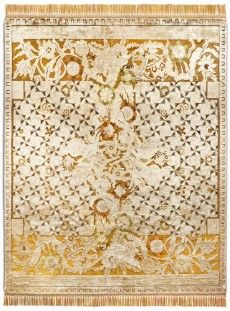 RUG STAR COLLECTION DIMENSIONS: 250CM X 300CM Floral Versus Geometics, copper green silk with wool highlights
