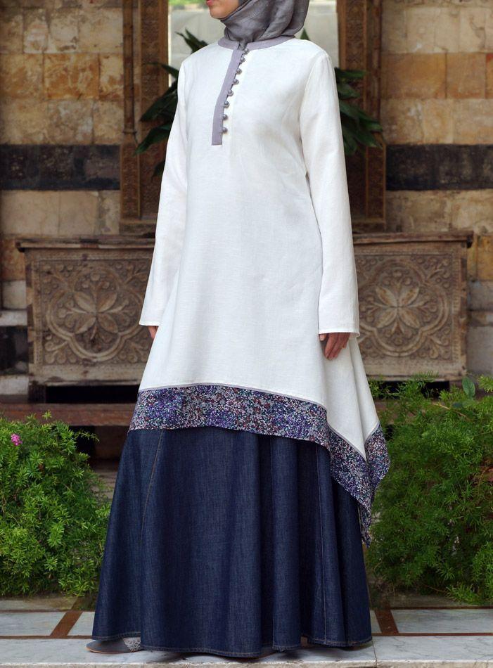 Hijab Fashion 2016/2017: Printed Hem Tunic  Hijab Fashion 2016/2017: Sélection de looks tendances spécial voilées Look Descreption Printed Hem Tunic