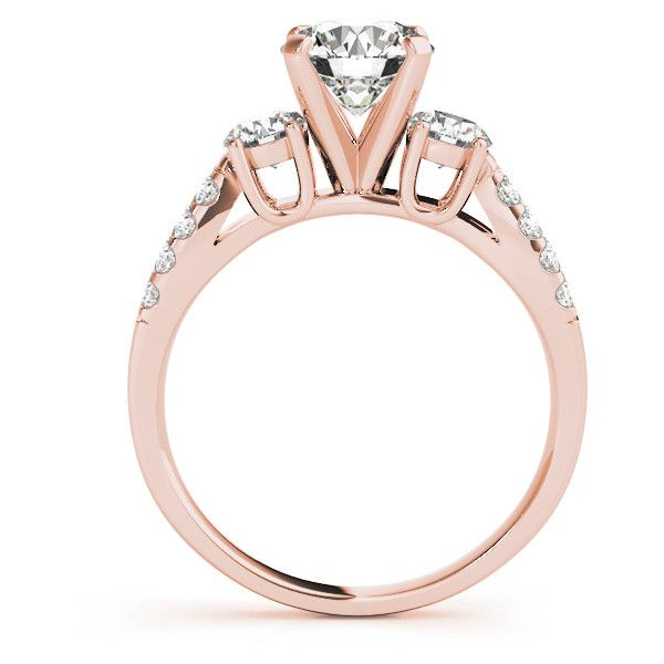 Engagement Ring -Three Stone Diamond Bridal-Set with Split Diamond... ($2,083) ❤ liked on Polyvore featuring jewelry, rings, wedding rings, three stone engagement ring, rose gold diamond rings, 3 stone engagement rings and three stone diamond ring