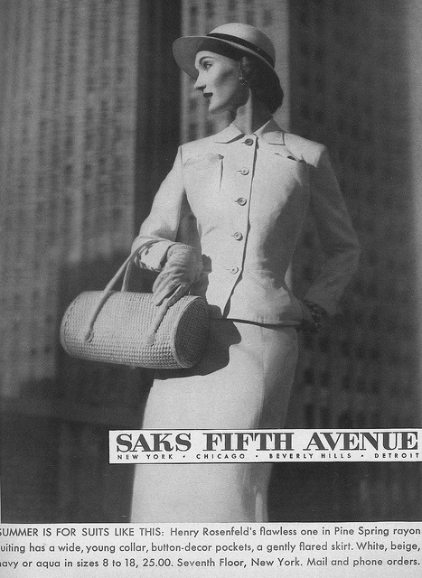 Well suited for work - #Saks ad from the April 1952 copy of #Harpers Bazaar