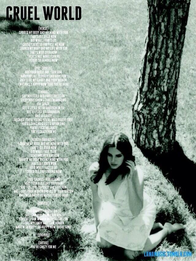 Lana Del Rey Lyrics #LDR #Cruel_World #ULTRAVIOLENCE