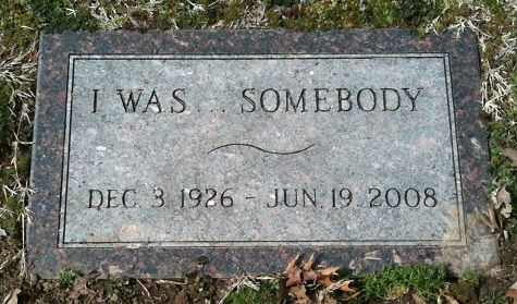 """Glenna June Bellomy Anderson (1926 - 2008). When the cemetery sexton sold Glenna her stone, her request for the inscription on it was """"I Was. . . SOMEBODY. He said the reason was that Glenna felt that many years after she died no one would probably remember her anyway. By having this inscription on her stone, people would see & remember it. Park Cemetery, Carthage, Missouri #headstone #gravestone #tombstone"""