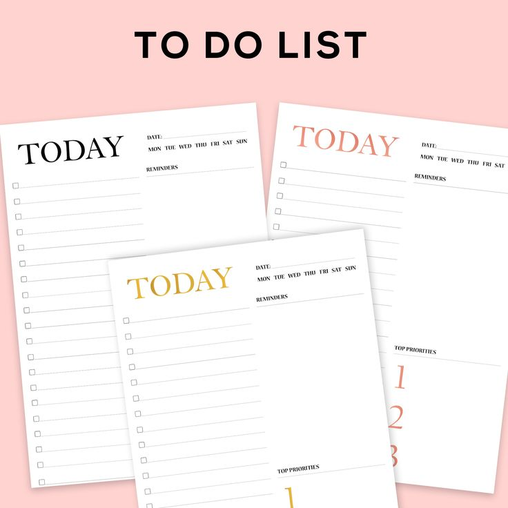 Printable To Do List to organise and priortise your tasks to accomplish your goals