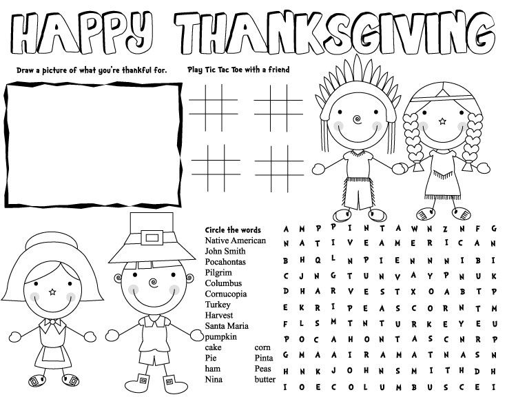 Thanksgiving Placemat Fall Pinterest Coloring