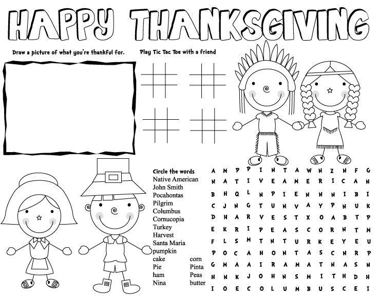 Thanksgiving placemat thanksgiving activities Fun family thanksgiving games