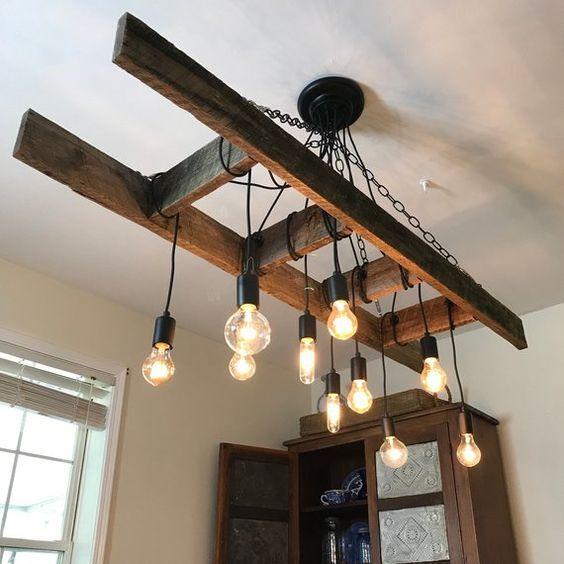 Visualizza altre idee su arredamento fai da te, idee, idee per la casa. Vintage Farmhouse Ladder Chandelier With Edison Bulbs Made Etsy Lampadari Rustici Lampadario In Legno Lampadari