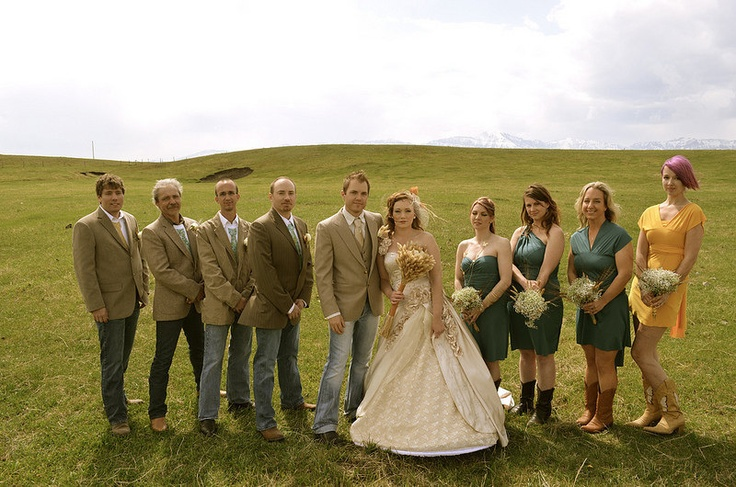 Blue Jean Wedding Dresses : Small outdoor blue jean casual wedding party picture