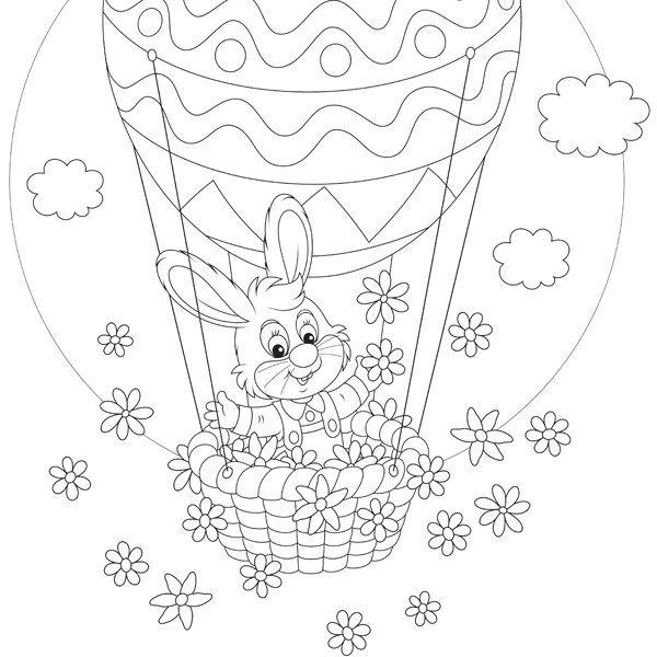 Coloriage de Pâques: lapinou en montgolfière
