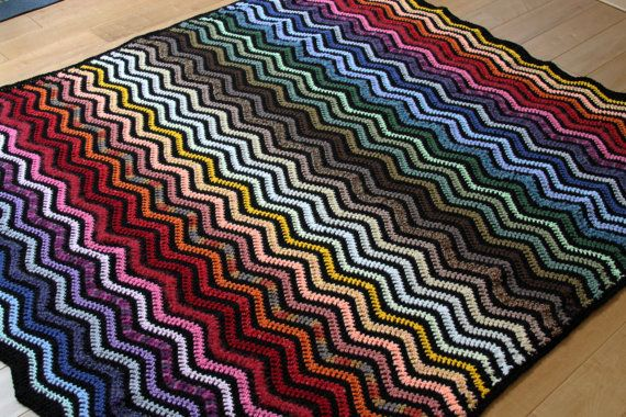 67Wx71H Crochet Rainbow Ripple Afghan by perimichels on Etsy