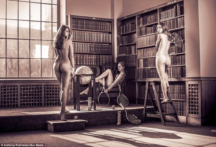 The university's female tennis team. The colleges were closed during the photoshoots to avoid people walking in on naked people