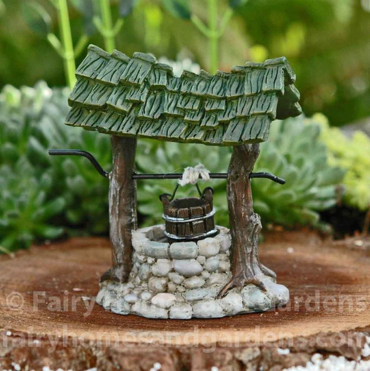 Fairy Homes and Gardens - Miniature Wishing Well, $9.45 (https://www.fairyhomesandgardens.com/miniature-wishing-well/)
