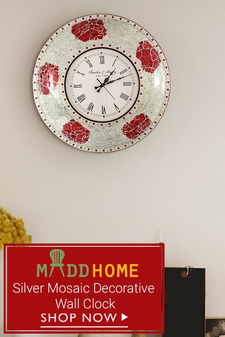 Add timeless elegance to your wall with our Silver Mosaic Decorative Wall #Clock.