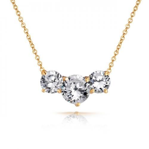 Bling Jewelry Round CZ Three Stone Past Present Future Station Necklace 16in