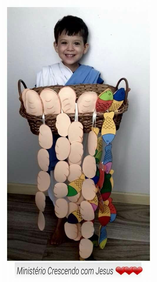 La multiplicación de los panes y peces. Se hacen cadenetas con las figuras y se dejan caer de la cesta