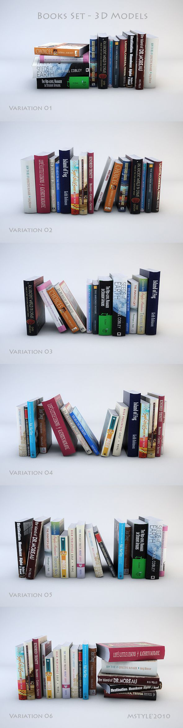 Books Set - 3D Models - 3DOcean Item for Sale