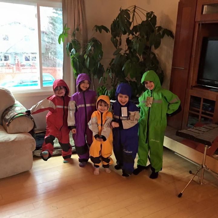 Happy Campers in their Dry Tyke Rainsuits!