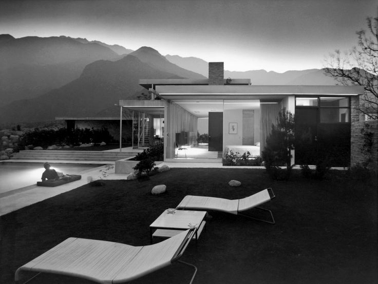 "Neutra's Kaufmann House in Palm Springs.  Julius Shulman (1910 – 2009) was an American architectural photographer best known for his photograph ""Case Study House #22, Los Angeles, 1960. Pierre Koenig, Architect."" The house is also known as The Stahl House. Shulman's photography spread California Mid-century modern around the world. Through his many books, exhibits and personal appearances his work ushered in a new appreciation for the movement beginning in the 1990s.(wikipedia)"
