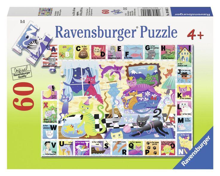 das alphabet der katzen 60 teile ravensburger puzzle online kaufen puzzle jigsaw. Black Bedroom Furniture Sets. Home Design Ideas