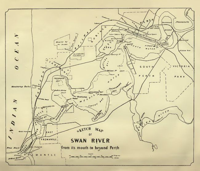 Sketch Map of Swan River from its mouth to beyond Perth.