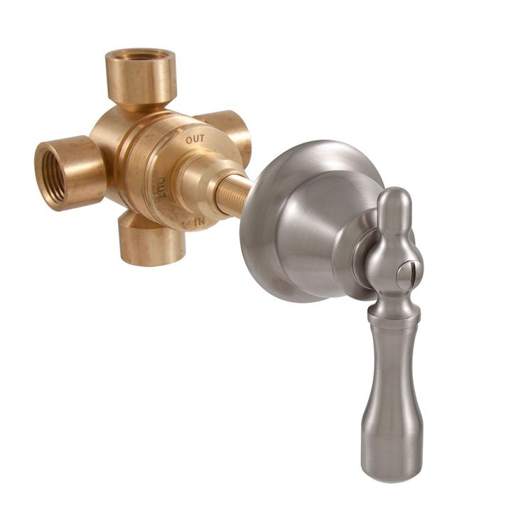 Traditional Three Way In-Wall Shower Diverter - Lever Handle - Brushed Nickel