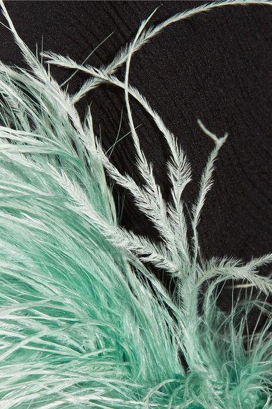 Prada | Feather-trimmed silk-chiffon blouse | NET-A-PORTER.COM