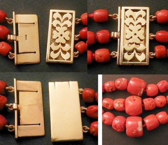 Antique Genuine Sardinian Coral Beads Necklace 18 karat Gold Heavy Clasp