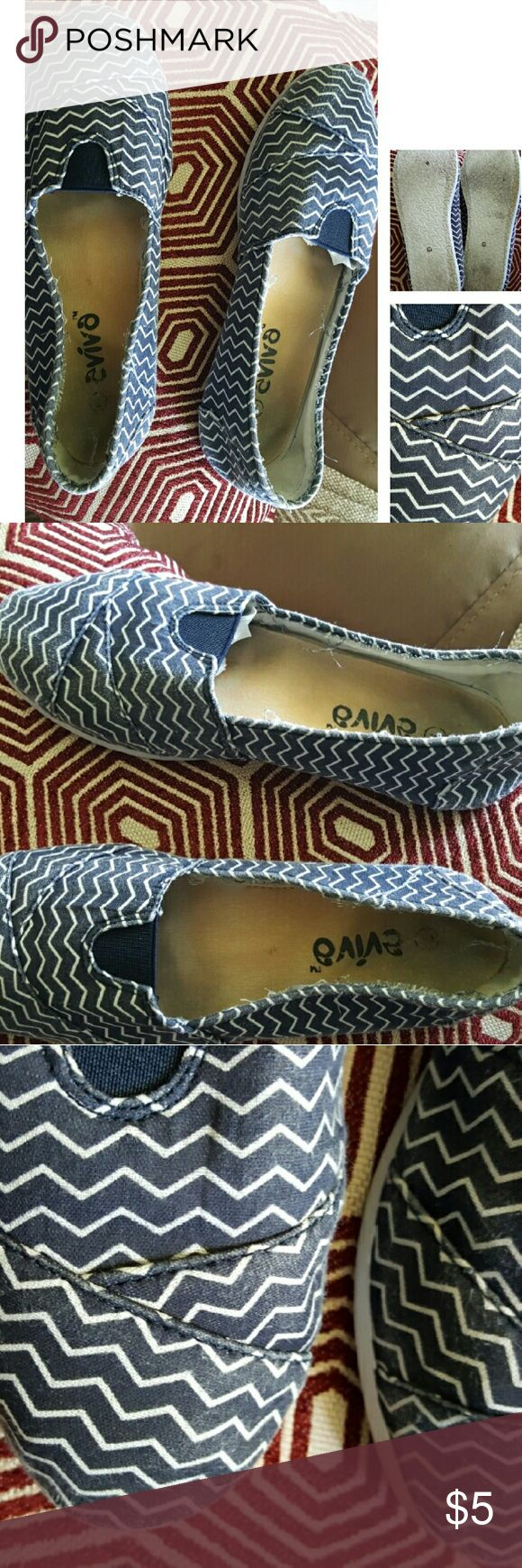 Cute Flats Blue & White Blue and white flats still in good condition. However they've obviously been used Shoes Espadrilles