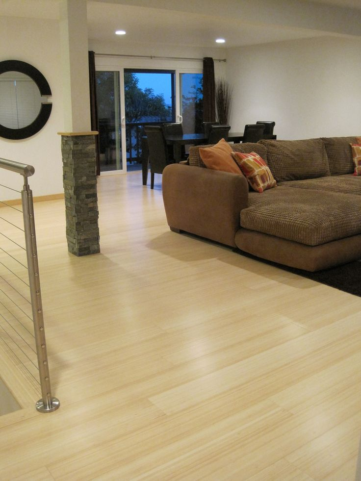 Natural bamboo flooring brings the contemporary look to your room.
