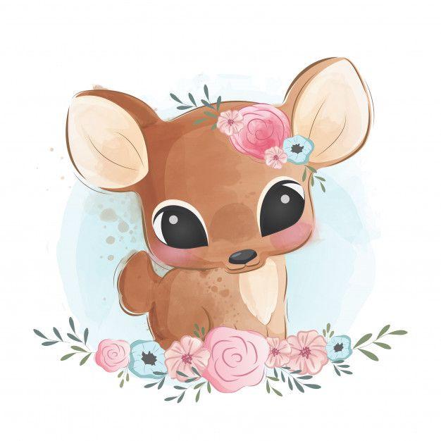 Cute Deer In Flower Bush in 2020 | Baby animal drawings ...