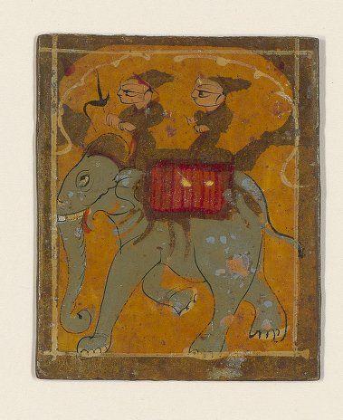 [Ganjifa mogholes de forme rectangulaire]. , [4ème couleur : Ghulam (esclaves)] : [carte à jouer, peinture] 1800
