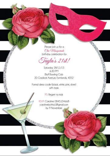 Chic Masquerade  21st Invite