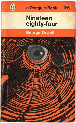Just one of a myriad of Penguin designs for George Orwell's classic Nineteen eighty-four (but one of the creepiest).