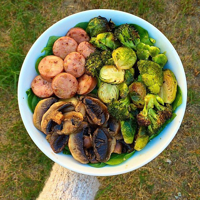 Aidell's chicken Apple sausage + mushrooms cooked in coconut oil + a mix of roasted brussels & broccoli on a bed of spinach. Or sausage, mushrooms, brussels, olive oil, garlic and onion powder