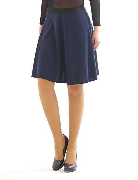 Swing Rock Midi Falten-Rock Gummibund hohe Taille Skirt Midirock dunkelblau L-XL