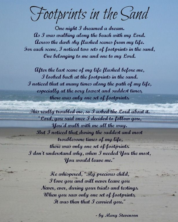 This is a photo of Canny Footprints in the Sand Poem Printable
