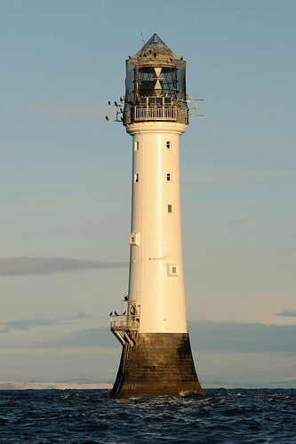 Bell Rock Lighthouse, Angus, Scotland - its new helipad has just been finished but you can only see it at low tide.