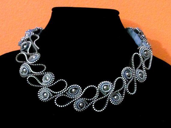 Statement necklace Zipper Necklace Zipper por Hipperzippers, $300.00