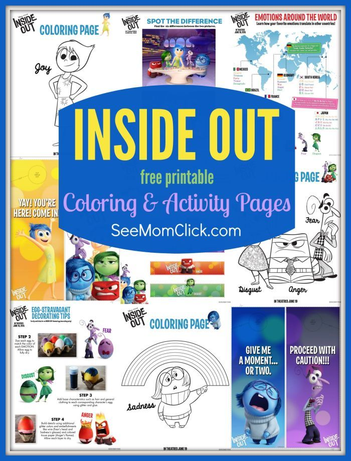 I have a bunch of fun Disney / Pixar's INSIDE OUT coloring pages and activity sheets for the kids! This movie is adorable - so funny and sweet!