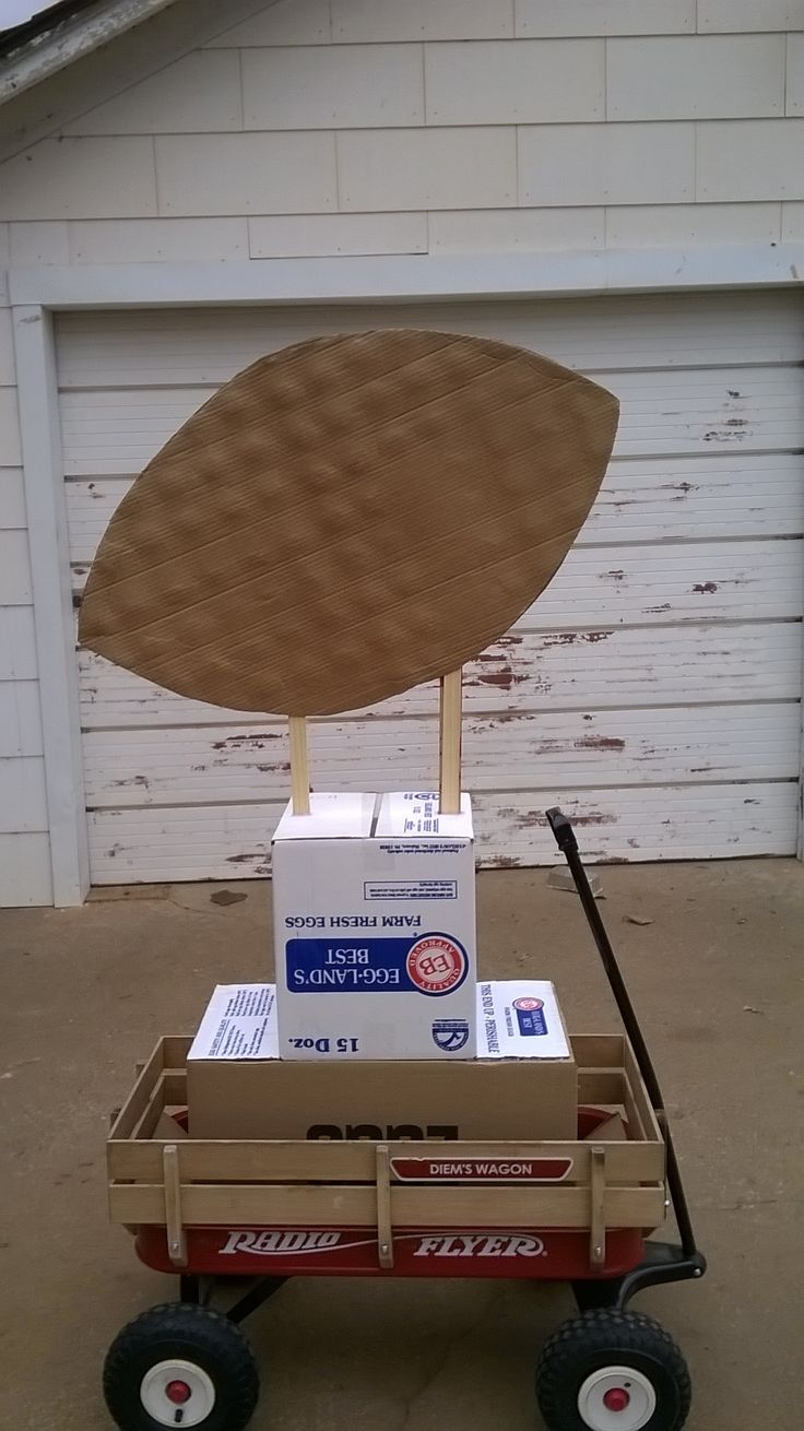 Homecoming parade Trophy float design: Hot glue boxes together, cut out 2 large football shapes, glue them onto painting mixers that are attached into the top box with hot glue. Then glue the edges of the football together. It fits in a radio flyer wagon for the kids to pull. Decorate it with a black base and gold ball and use tulle around the bottom in your school colors.