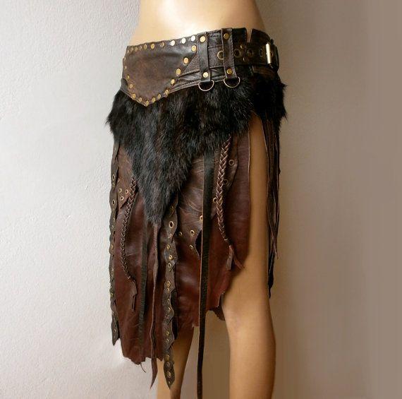 Dream Warriors Brown Leather Loincloth Battle Skirt Fur