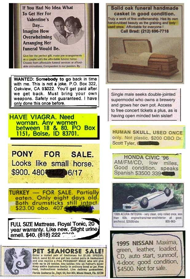 A fine selection of seriously dodgy Classified Ads