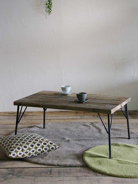 画像1: ≪ローテーブル≫【USED足場板×鉄脚 アイアン家具】 (1)