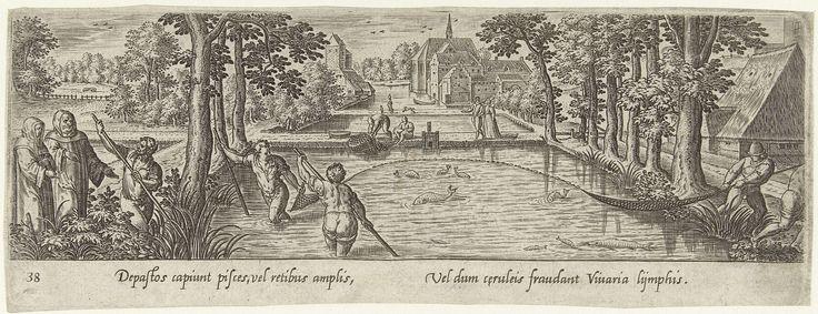 Hans Bol | Visvangst met sleepnet, Hans Bol, Theodoor Galle, 1582 | In een vijver wordt vis gevangen door middel van een sleepnet. De prent heeft een Latijns onderschrift en maakt deel uit van een serie van 54 prenten.