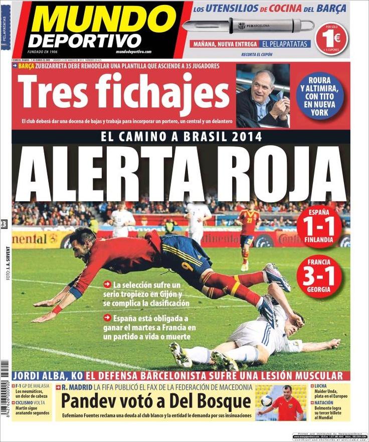Los Titulares y Portadas de Noticias Destacadas Españolas del 23 de Marzo de 2013 del Diario Mundo Deportivo ¿Que le parecio esta Portada de este Diario Español?