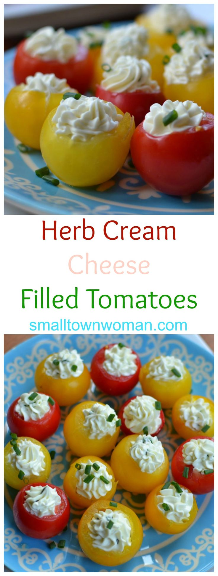 These Herb Cream Cheese Stuffed Tomatoes are perfect for the long lazy days of summer. Cherry tomatoes are that their peak of flavor and the timing could not be better