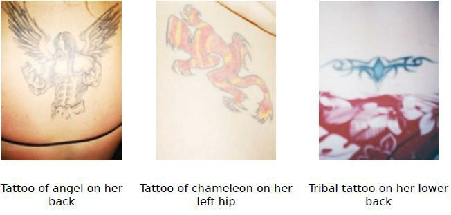 She has three tattoos (pictured above): an angel on her upper back, a chameleon …