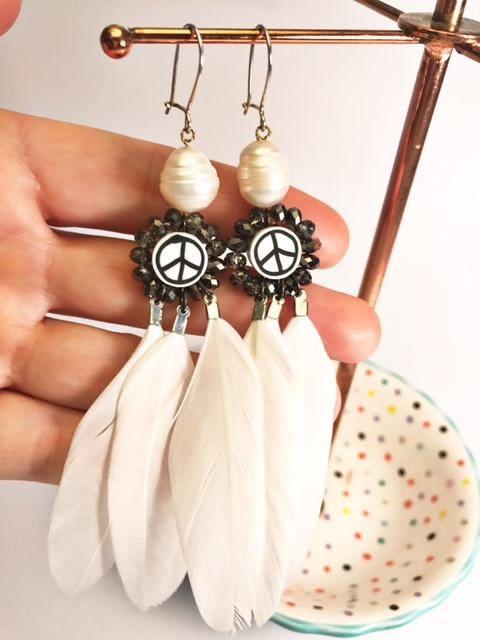Peace Earrings Australian pearl earrings feather earrings